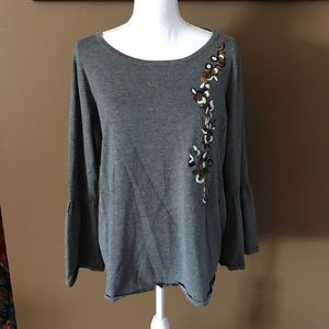 Philosophy Grey Embroidered Bell Sleeve Top EUC